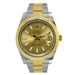 Rolex Datejust II 18K Yellow Gold & Stainless Steel Watch Champagne Dial 116333