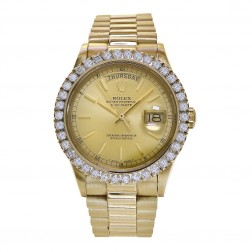 Rolex Day-Date 36 18K Yellow Gold Watch 3 Ct. Diamond Bezel 18038