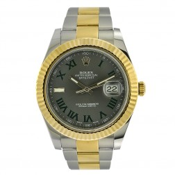 Rolex Datejust II 18K Yellow Gold & Stainless Steel Watch Wimbledon Dial 116333