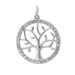 Cubic Zirconia Circle Tree Sterling Silver Pendant
