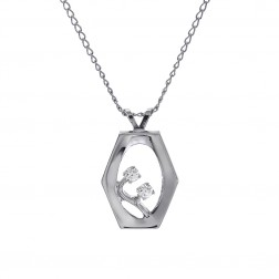 """Cubic Zirconia Pendant With 18"""" Chain Sterling Silver"""