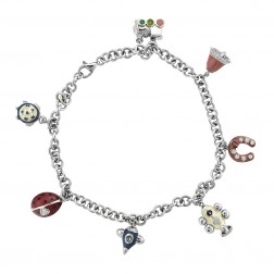 """Silver Ankle Bracelet With Enamel Charms 10"""""""