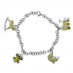Ladies Silver Bracelet With Green Enamel Charms 7""