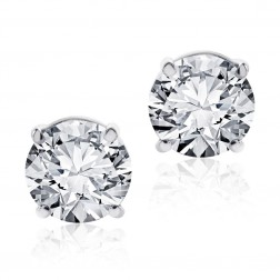 3.12 Carat Round Brilliant Cut Diamond Stud Earrings 14K White Gold