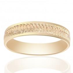 5.0mm 14K Yellow Gold Diamond Cut Mens Wedding Band