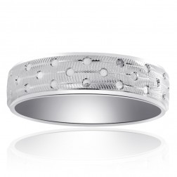 6.0mm 14K White Gold Diamond Cut Circles Mens Wedding Band