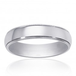 5.0mm 14K White Gold Comfort Fit Wedding Band