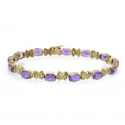 10.00 Carat Oval Cut Amethyst Hugs and Kisses Bracelet 14K Yellow Gold