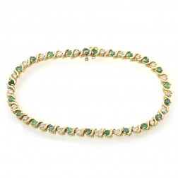2.40 Carat Round Cut Emerald & Diamond S-Link Tennis Bracelet 14K Yellow Gold