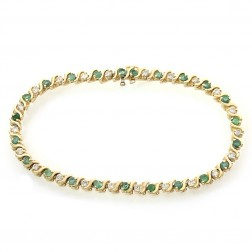 1.60 Carat Oval Cut Emerald & Round Diamond S-Link Bracelet 14K Yellow Gold