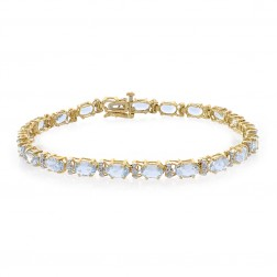 9.55 Carat Light Blue Topaz & Round Cut Diamond Bracelet 10K Yellow Gold