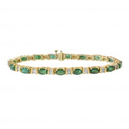 9.50 Carat Oval Cut Emerald & Baguette Cut Diamonds Bracelet 14K Yellow Gold