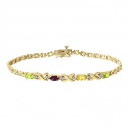 0.06 Carat Round Cut Diamond & Oval Shaped Gemstone Bracelet 14K Yellow Gold