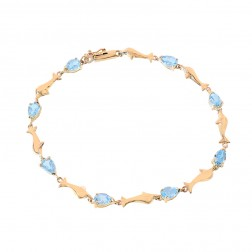 3.50 Carat Light Blue Topaz Gemstone and Dolphin Link Bracelet 10K Yellow Gold