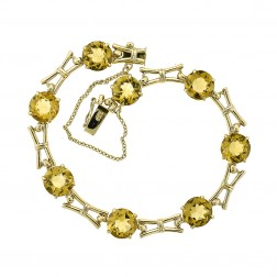 20.00 Carat Round Cut Citrine Vintage Bracelet 9K Yellow Gold 375 Stamp Made In London 7""