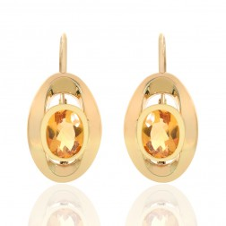 3.00 Carat Oval Citrine French Back Dangle Earrings 14K Yellow Gold