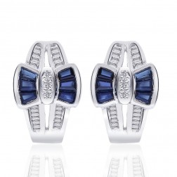 0.96 Carat Sapphire & Diamond Bow Cluster Hoop Huggy Earrings 14K White Gold