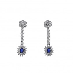 1.25 Carat Sapphire and Round Diamond Dangle Earrings 14K White Gold