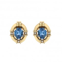 1.00 Carat London Blue Topaz & 0.07 Carat Diamond Gemstone Stud Earrings 14K Yellow Gold