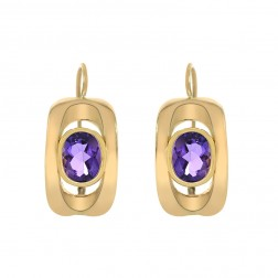 3.00 Carat Oval Cut Amethyst Earrings Made In Italy 14K Yellow Gold