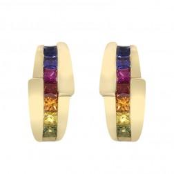 1.25 Carat Rainbow Sapphire Omega Closure Earrings 14K Yellow Gold
