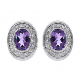 2.25 Carat Amethyst & 0.20 Carat Diamond Huggie Earrings 14K White Gold