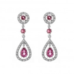 2.87 Carat Pink Tourmaline & Diamond Dangle Earrings 14K White Gold