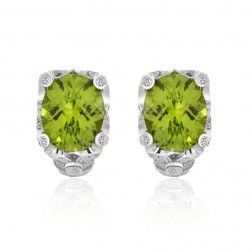 7.04 Carat Oval Cut Peridot & Round Diamond Huggy Earrings 14K White Gold