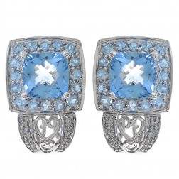4.00 Carat Blue Topaz And 0.10 Carat Diamond Earrings 14K White Gold