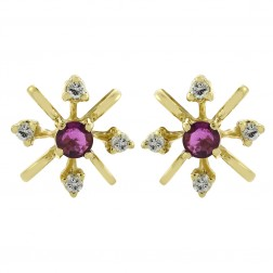 0.08 Carat Diamond and 0.20 Carat Ruby Flower Vintage Stud Earrings 14K Yellow Gold