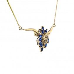1.06 Carat Marquise Cut Sapphire & Round Diamond Necklace 14K Yellow Gold