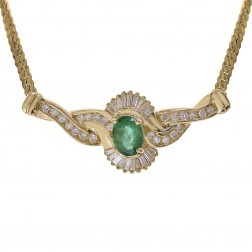 1.45 Carat Oval Emerald & 1.00 Carat Diamond Necklace 14K Yellow Gold