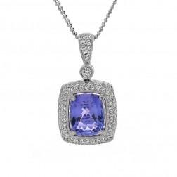 5.35 Carat Cushion Cut Tanzanite Round Diamond Halo Pendant Chain 18K White Gold