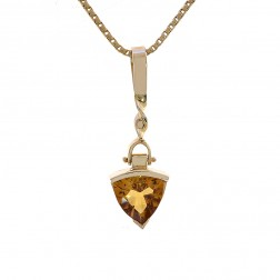 2.00 Carat Trillion Cut Citrine Pendant Necklace 14K Yellow Gold