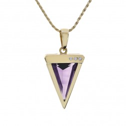 6.03 Carat Shield Cut Amethyst & Diamond Pendant 14K Yellow Gold
