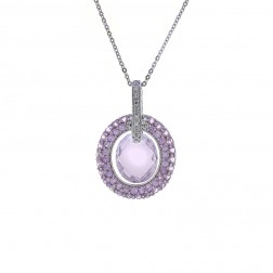3.00 Carat Amethyst and 0.09 Carat Diamond Pendant in 14K White Gold