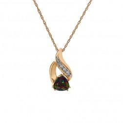1.53 Carat Man Made Alexandrite With Diamond Accent Pendant Necklace 10K Yellow Gold