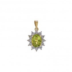 1.50 Carat Oval Cut Peridot & 0.10 Carat Diamond Pendant 14K Yellow Gold