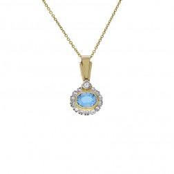 2.50 Carat London Blue Topaz 0.85 Carat Diamond Vintage Pendant 14K Yellow Gold