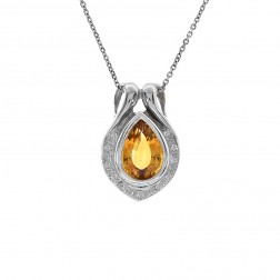 3.00 Carat Drop Shape Citrine & Diamond Pendant With Cable Chain 14K White Gold