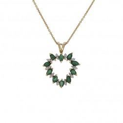 1.00 Carat Emerald & 0.10 Carat Diamond Heart Pendant Necklace 14K Yellow Gold