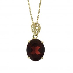 1.50 Carat Oval Cut Garnet Vintage Pendant 10K Yellow Gold With 14K Yellow Gold Chain