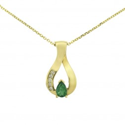 0.50 Carat Emerald And 0.08 Carat Diamond Pendant in 14K Yellow Gold