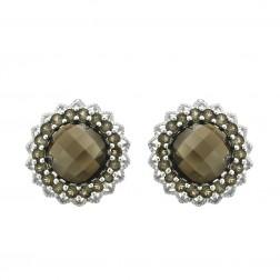 9.00 Carat Round Checkerboard Cut Smokey Topaz Flower Earrings 14K White Gold