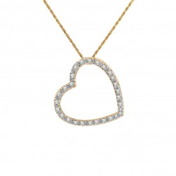 0.30 Carat Round Diamond Heart Pendant on Rope Chain 14K Yellow Gold