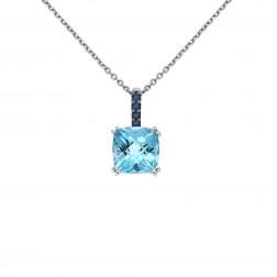 2.00 Carat Blue Topaz and 0.08 Carat Sapphire Vintage LeVian Pendant 14K White Gold
