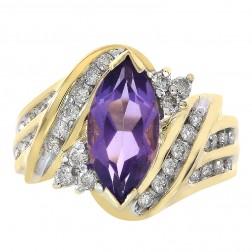 2.50 Carat Amethyst & 0.75 Carat Diamond Vintage Ring 14K Yellow Gold