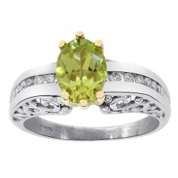 1.00 Carat Peridot & 0.12 Carat Diamond Vintage Ring 14K Yellow Gold