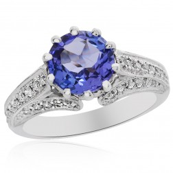 2.10 Carat Tanzanite with 0.50 Carat Diamond Ring 14K White Gold