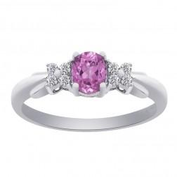 0.40 Carat Oval Cut Pink Sapphire with Round Cut Diamonds 10K White Gold